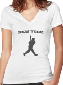 babe ruth Women's Fitted V-Neck T-Shirt