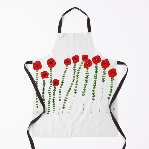 Bright Red Flowers Art Apron