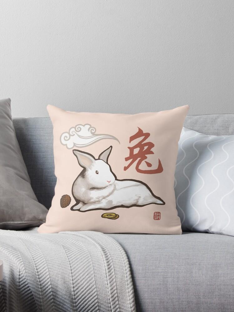 Lionhead Rabbit Sumi-E by ninjaink