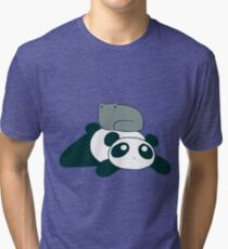Panda and Gray Cat Tri-blend T-Shirt