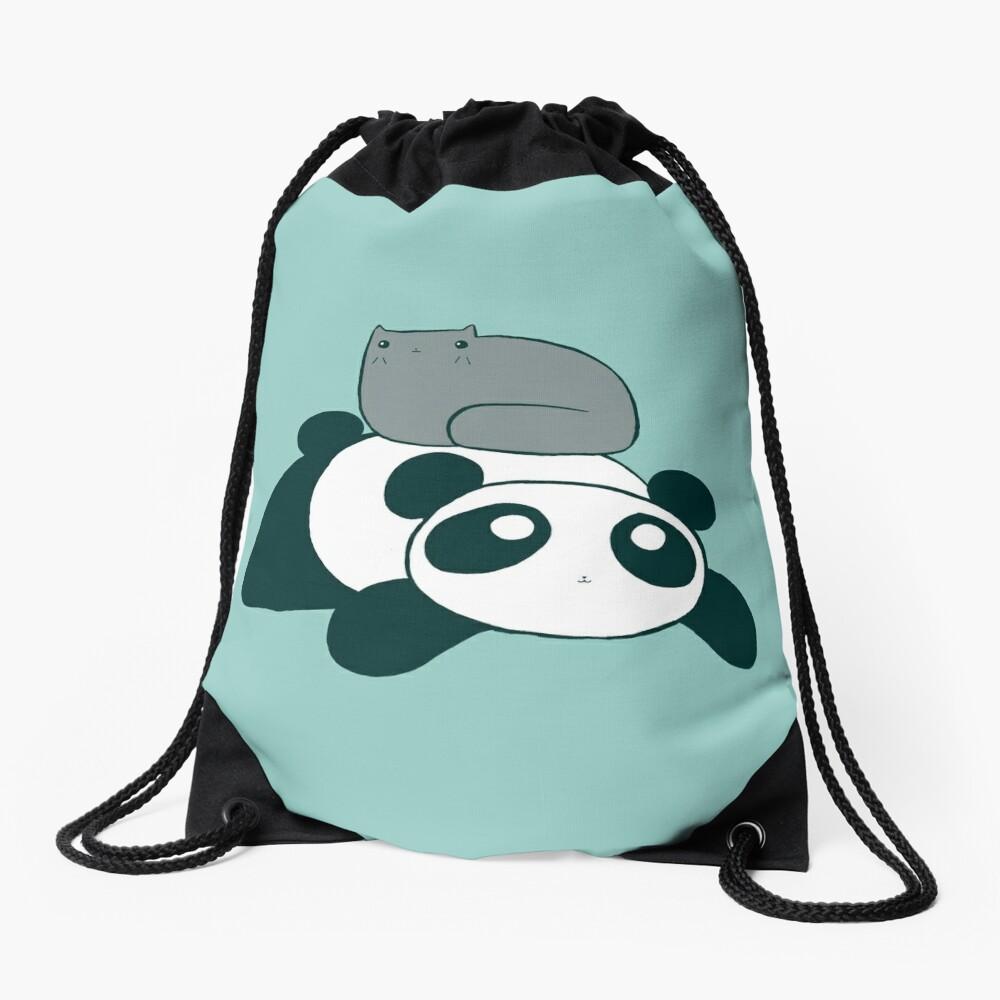 Panda and Gray Cat Drawstring Bag
