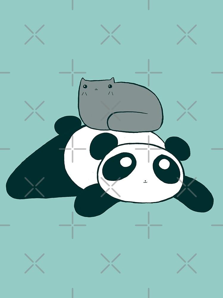Panda and Gray Cat by SaradaBoru