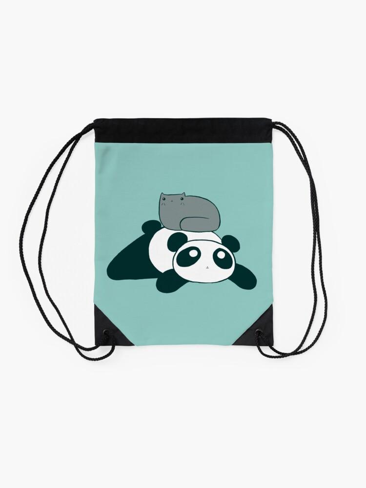 Alternate view of Panda and Gray Cat Drawstring Bag
