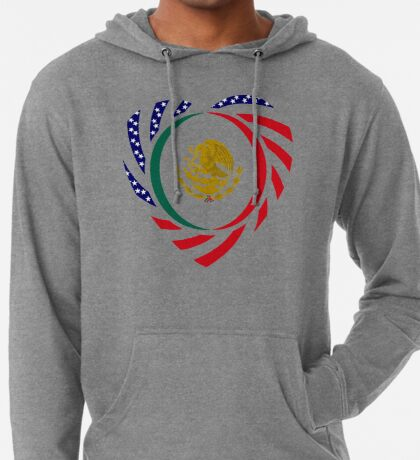 Mexican American Multinational Patriot Flag Series (Heart) Lightweight Hoodie