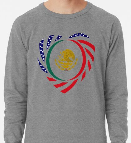Mexican American Multinational Patriot Flag Series (Heart) Lightweight Sweatshirt