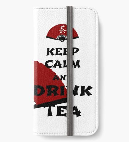 keep calm and drink tea - asia edition iPhone Flip-Case