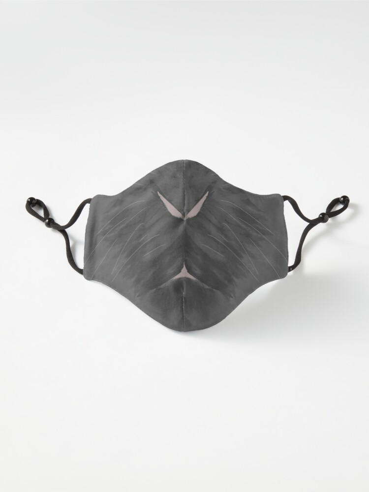 Alternate view of Fluffy Bunny Face Mask in Grey Mask