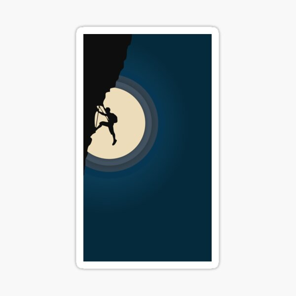 Rock Climbing in the Moonlight Sticker