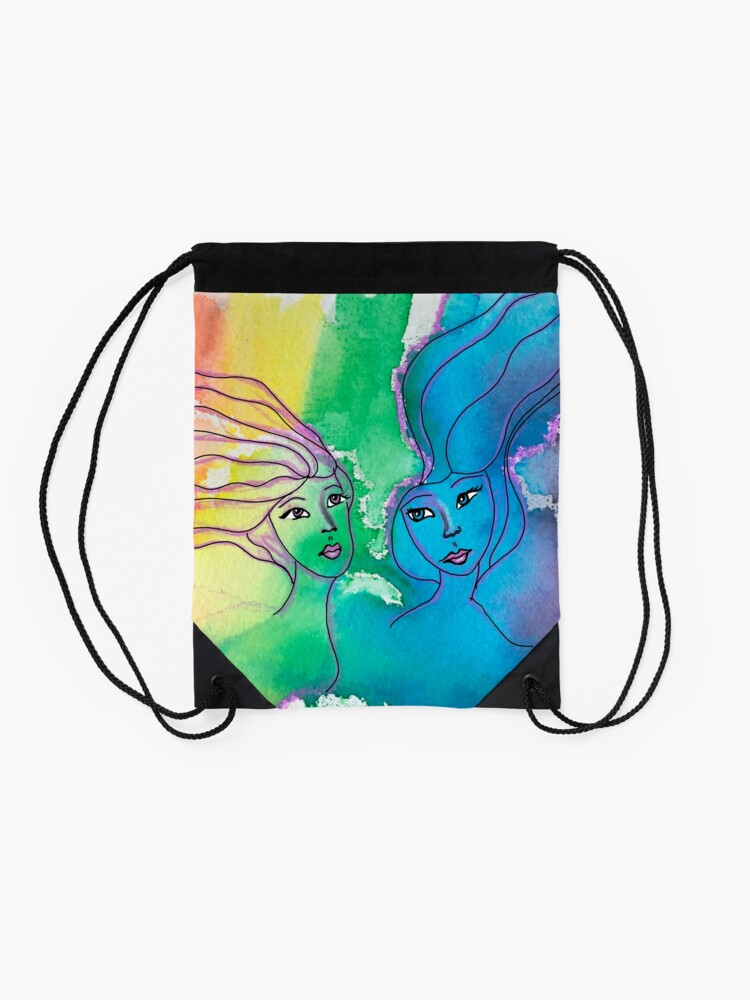 Alternate view of Sisters Water color Drawstring Bag