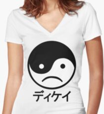 Yin Yang Face I Women's Fitted V-Neck T-Shirt