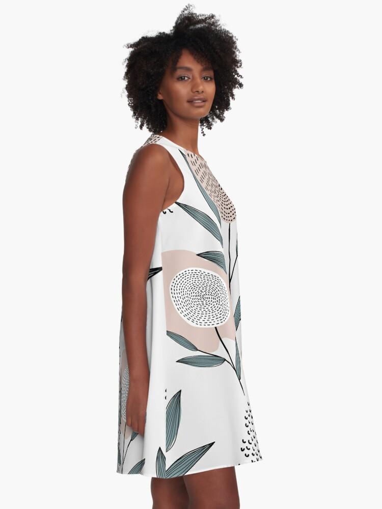 Alternative Ansicht von Abstraktes Retro Blumenmuster A-Linien Kleid