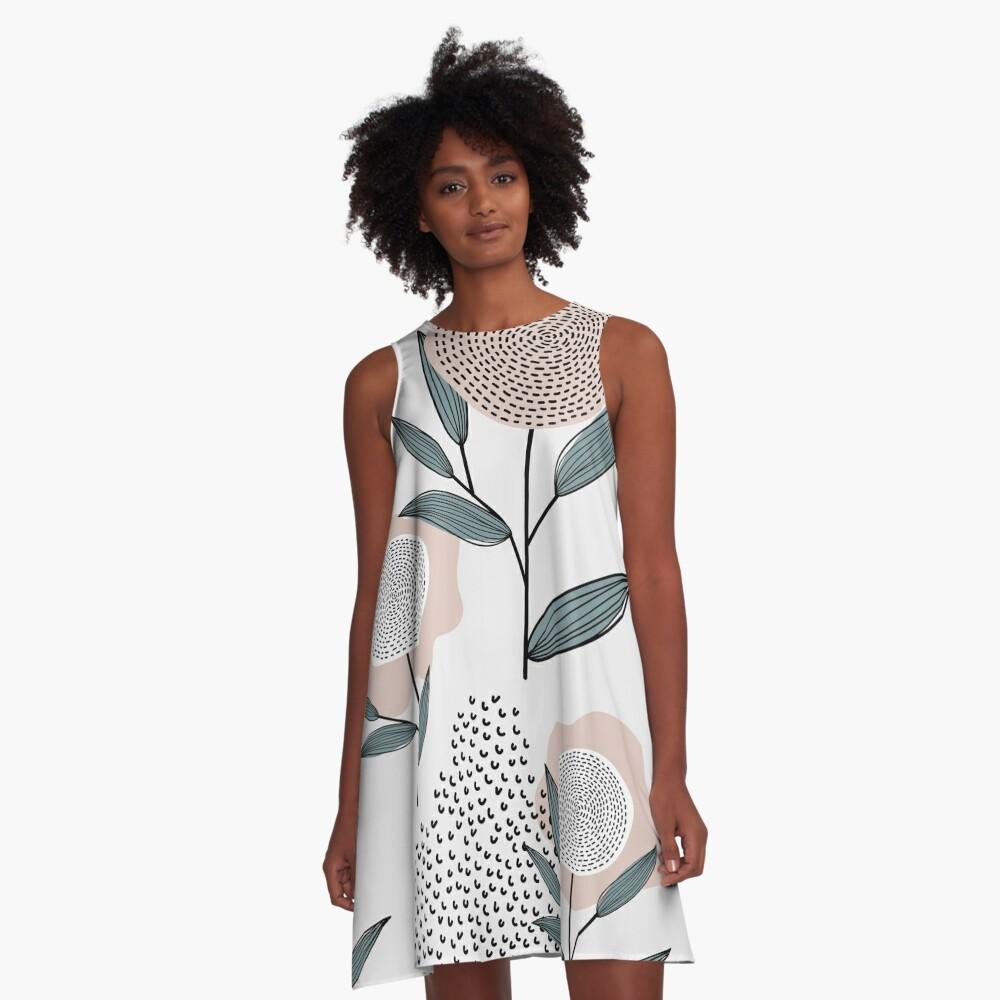 Abstraktes Retro Blumenmuster A-Linien Kleid