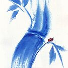 Feelin' Blue - Watercolor Ladybug & Bamboo Painting  by Rebecca Rees