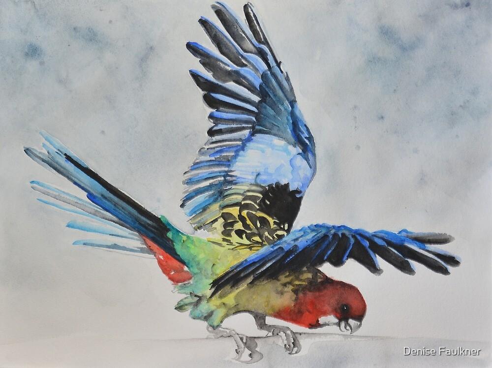 Birdbrain Portrait of a Crazy Rosella by Denise Faulkner