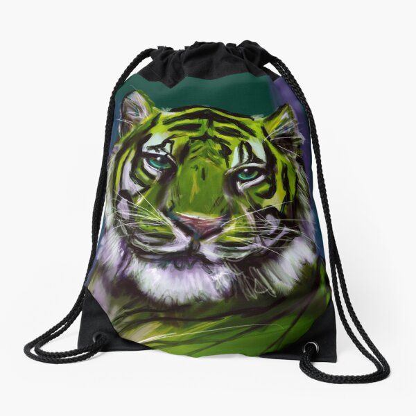 Green Tiger Drawstring Bag