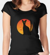 Black Cat & Moon Women's Fitted Scoop T-Shirt