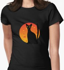 Black Cat & Moon Women's Fitted T-Shirt