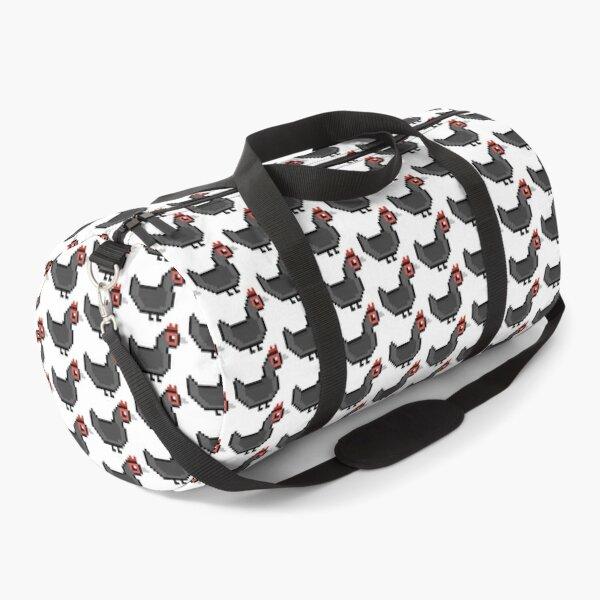 Pixel Art Black Chicken Duffle Bag