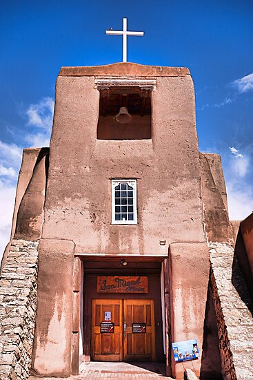 San Miguel Mission with Blue Sky by Robert Meyers-Lussier