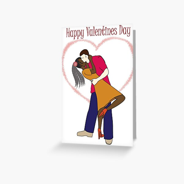Interracial African Couple Valentine (val004) Greeting Card
