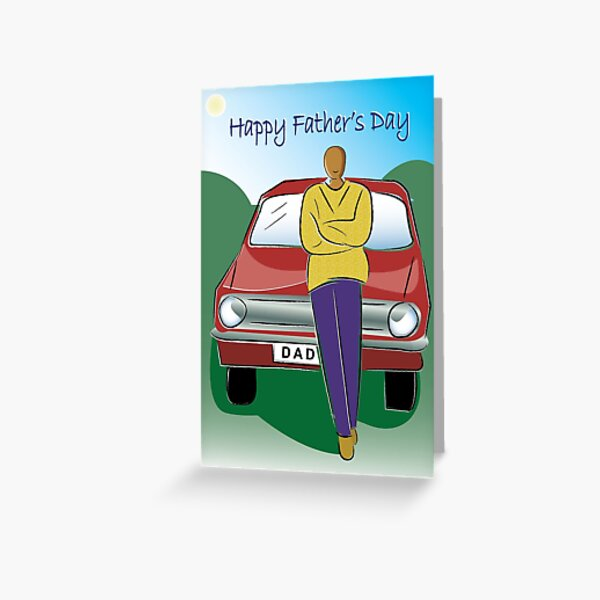 African Amercian Dads Retro Car Fathers Day Card (dad002) Greeting Card