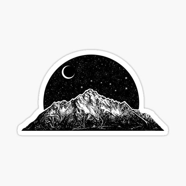 Mountain, Moon, and Stars Sticker