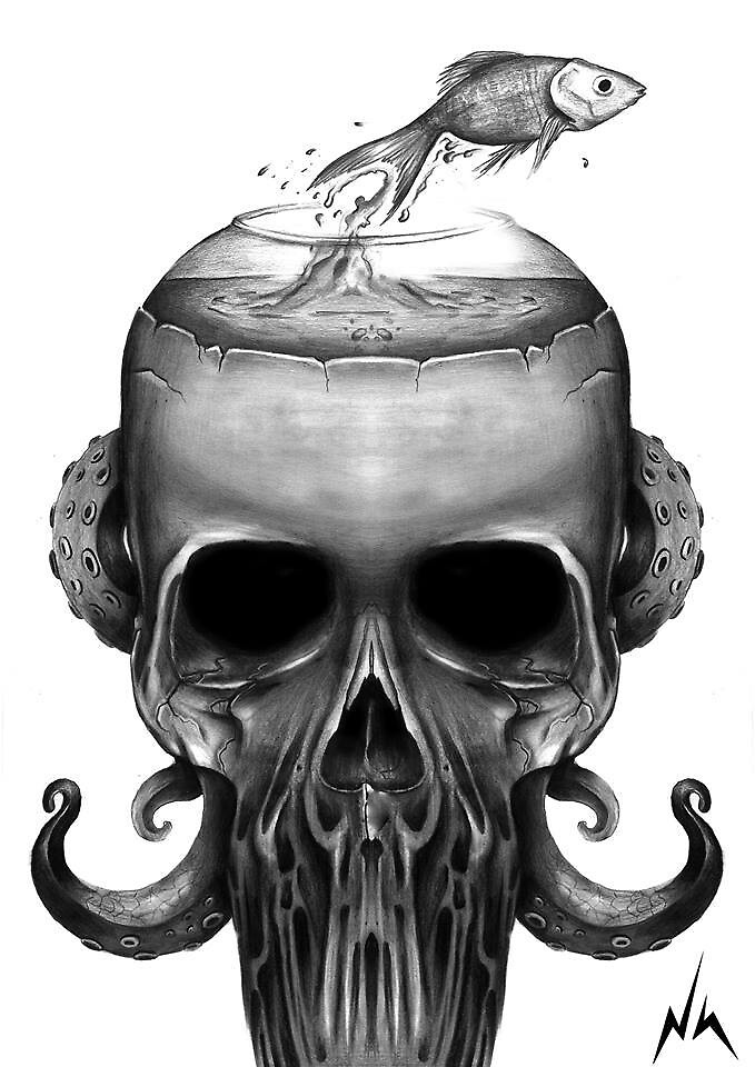 old school skull handmade openmind by flacotem