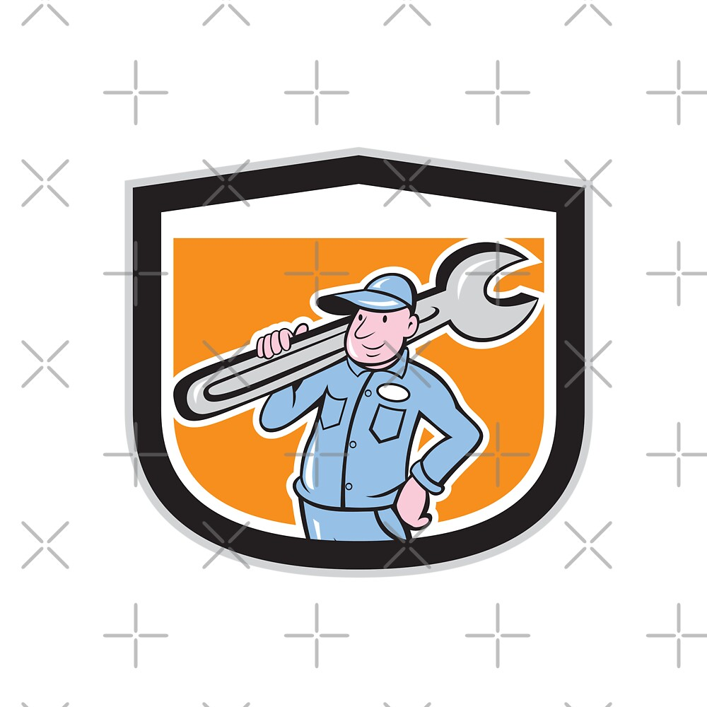 Plumber Holding Wrench Shield Cartoon by patrimonio