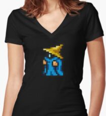 Black Mage sprite Women's Fitted V-Neck T-Shirt