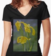 Yellow Flag Iris - Donegal Women's Fitted V-Neck T-Shirt