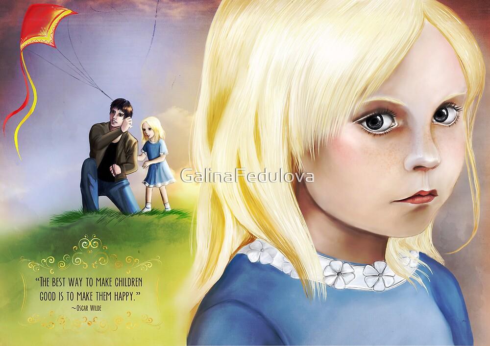The portrait of a sad little girl  by GalinaFedulova