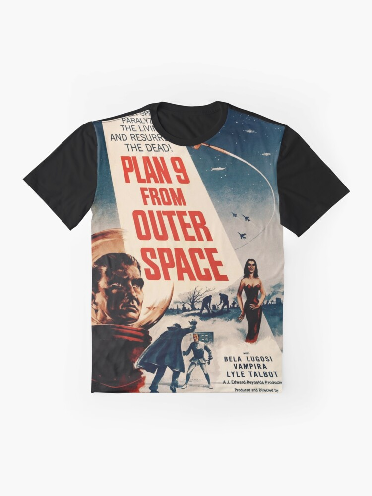 Alternate view of Plan 9 From Outer Space Retro Movie Pop Culture Art Graphic T-Shirt
