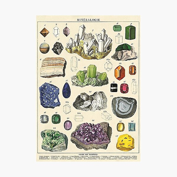 Mineralogie Crystal Photographic Print