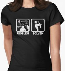 Funny Saxophone Problem Solved T Shirt Women's Fitted T-Shirt