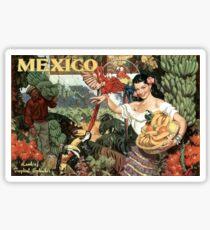 Mexico Land of Tropical Splendor Vintage Travel Poster Sticker
