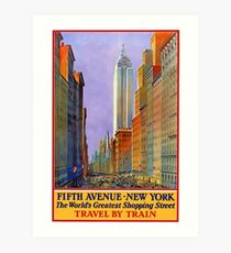 Fifth Avenue New York The World's Greatest Shopping Street Vintage Travel Poster Art Print