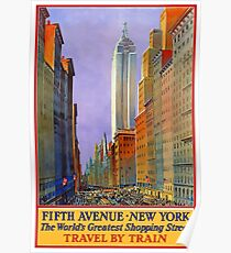 Fifth Avenue New York The World's Greatest Shopping Street Vintage Travel Poster Poster