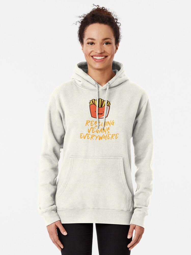 Alternate view of Rescuing Vegans Everywhere with Fries Pullover Hoodie