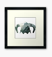 Elder Scrolls - Helmet - Mountains Framed Print