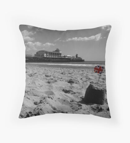 Bournemouth Pier in Black and White Throw Pillow
