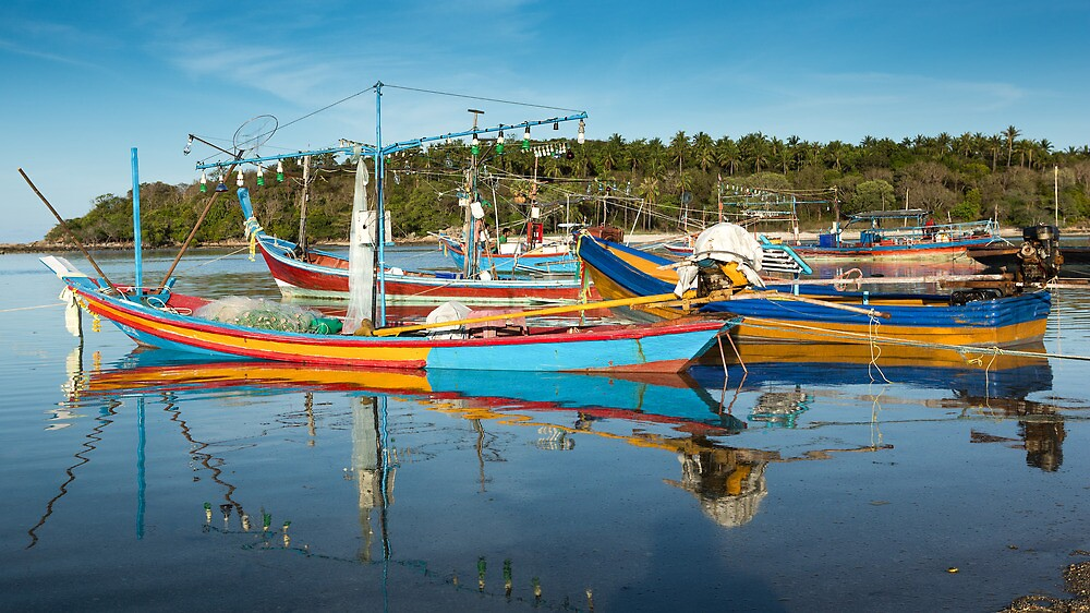 Fishing Boats - Lawana Beach - Koh Samui by Frank Moroni