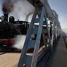 G Class Steam Train crossing the motor/railway bridge, Murray Bridge by Mark Richards