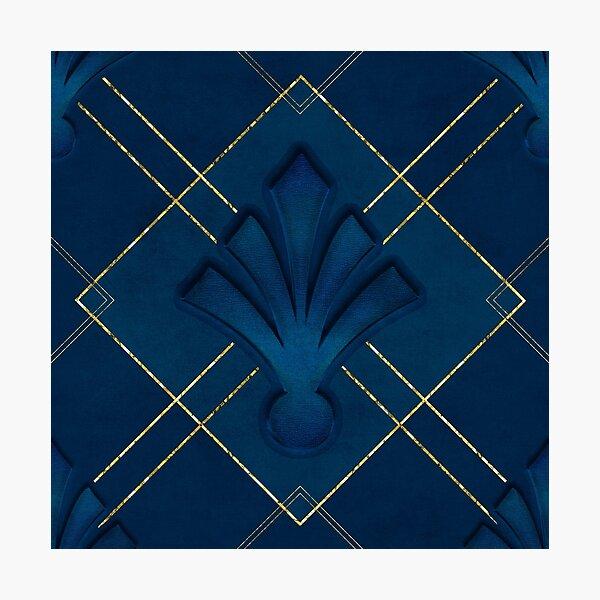 Dark Blue And Gold Art Deco Pattern Photographic Print