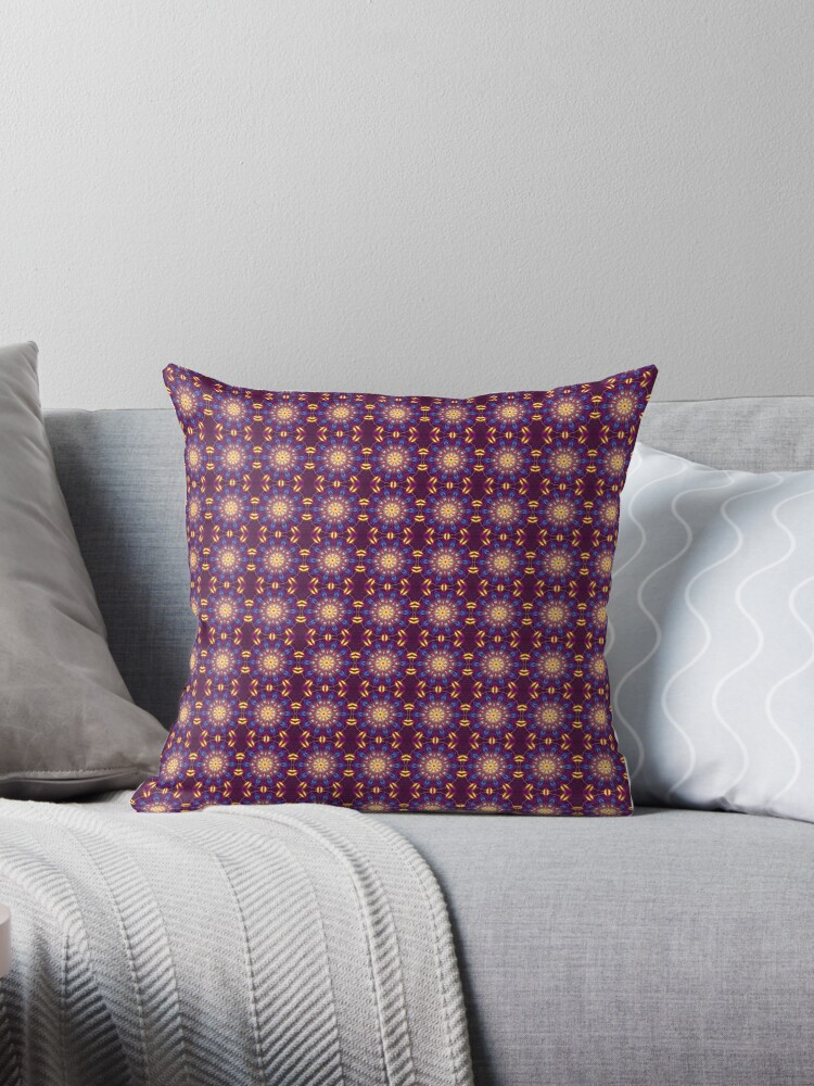 Purple Digital Light Kaleidoscope Throw Pillow 02 co-ord by fantasytripp
