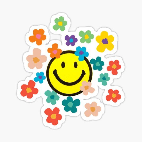 Flores retro con una carita sonriente Pegatina