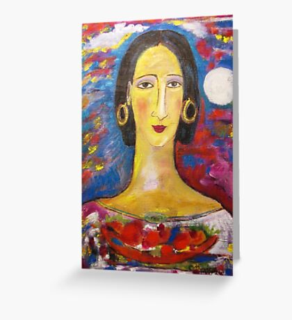 """""""Isabella with fruit""""  Greeting Card"""