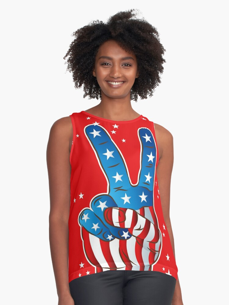 American Patriotic Victory Peace Hand Fingers Sign Contrast Tank Front