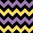 Chevron Violet Yellow Zigzag Clean Simple Pattern by Beverly Claire Kaiya