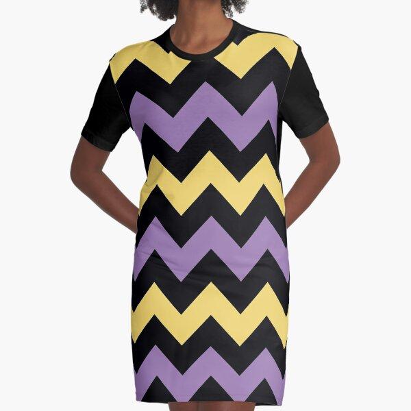 Chevron Violet Yellow Zigzag Clean Simple Pattern Graphic T-Shirt Dress