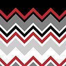 Chevron Red Grey Black White Zigzag Pattern by Beverly Claire Kaiya
